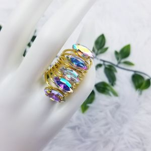 3 FOR 15 Marquise Gem Iridescent Stacked Ring